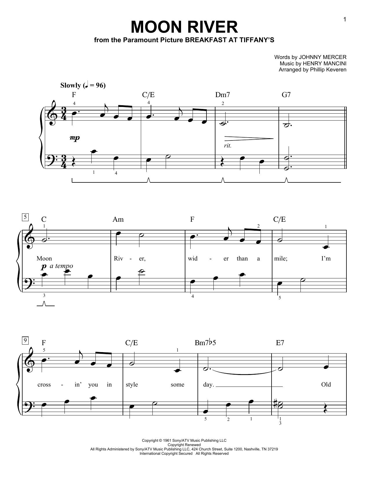 Partition piano Moon River de Phillip Keveren - Piano Facile