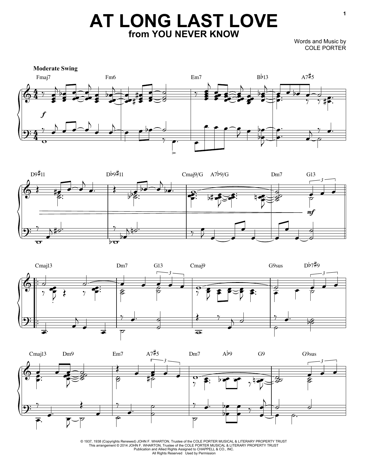 Partition piano At Long Last Love de Cole Porter - Piano Solo