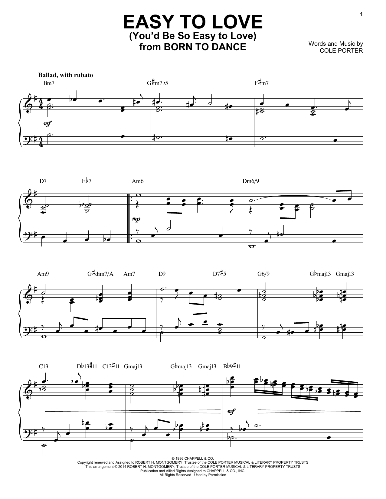 Partition piano Easy To Love (You'd Be So Easy To Love) de Cole Porter - Piano Solo