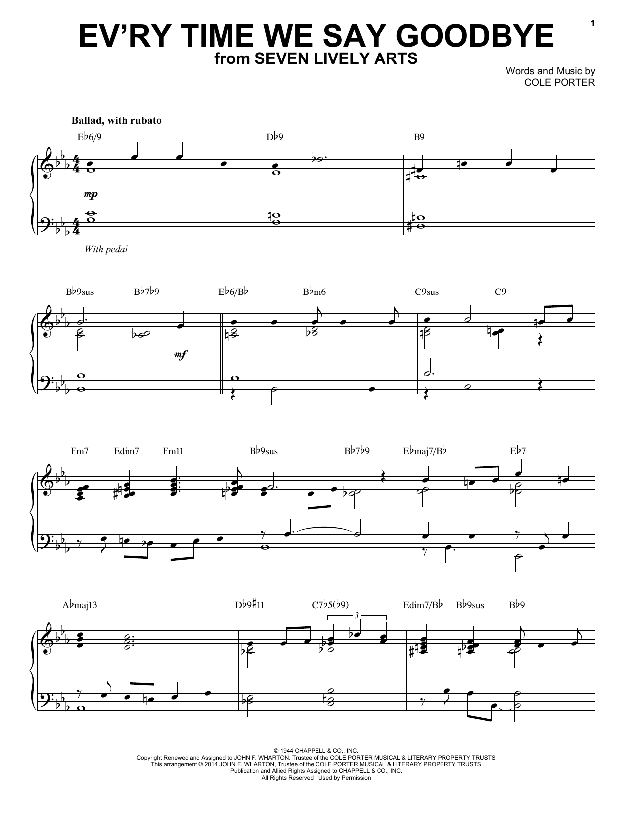 Partition piano Ev'ry Time We Say Goodbye de Cole Porter - Piano Solo