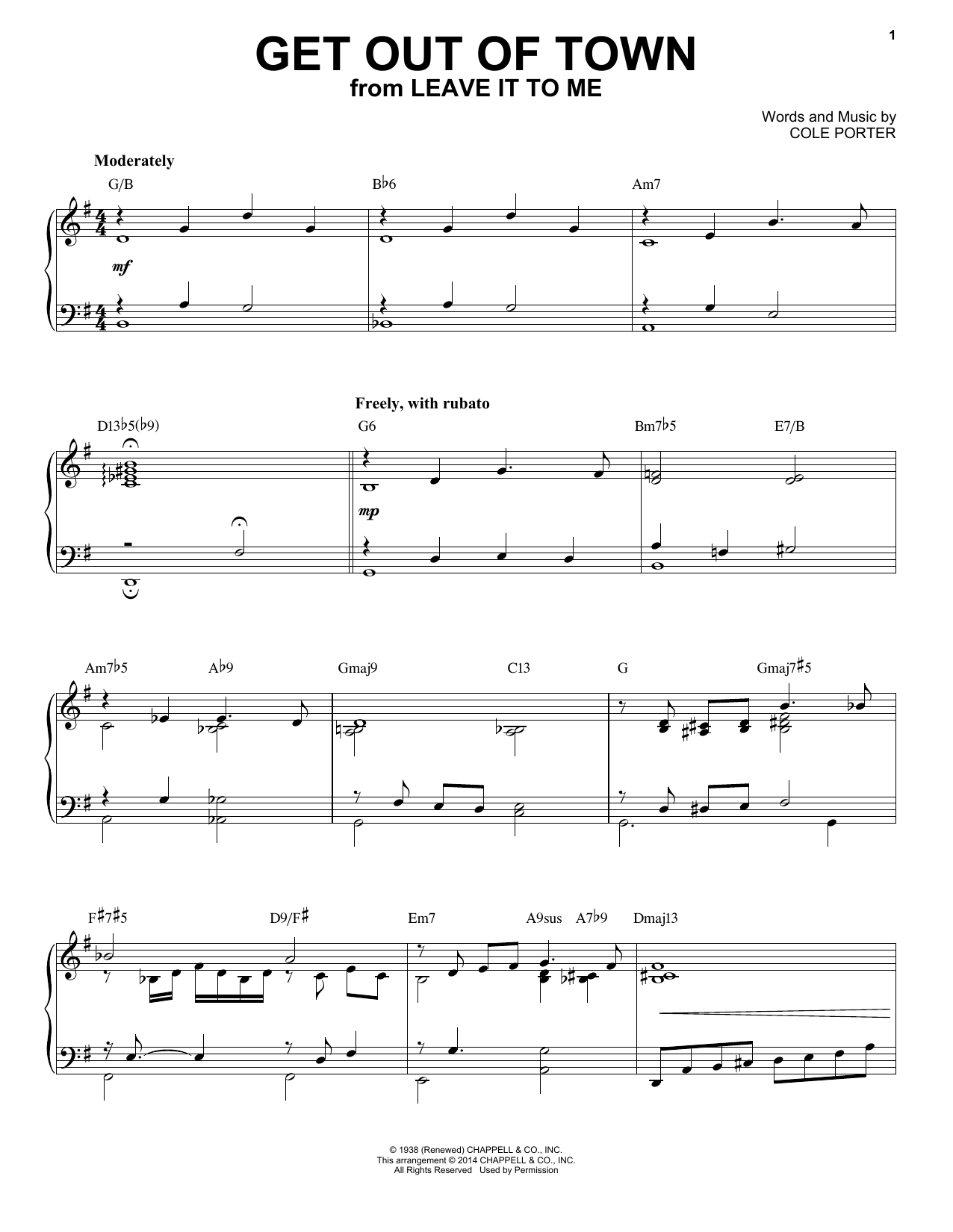 Partition piano Get Out Of Town de Cole Porter - Piano Solo