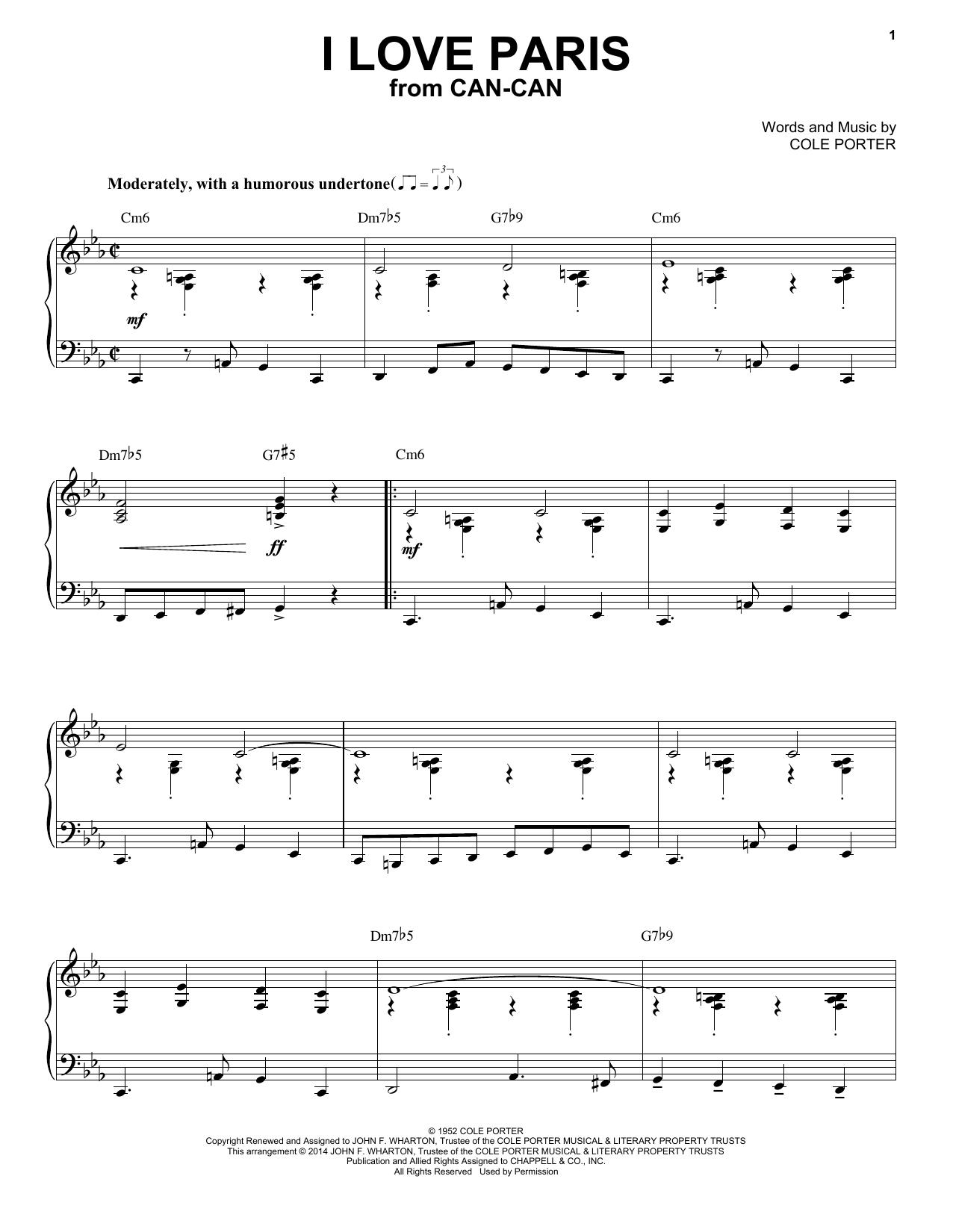 Partition piano I Love Paris de Cole Porter - Piano Solo