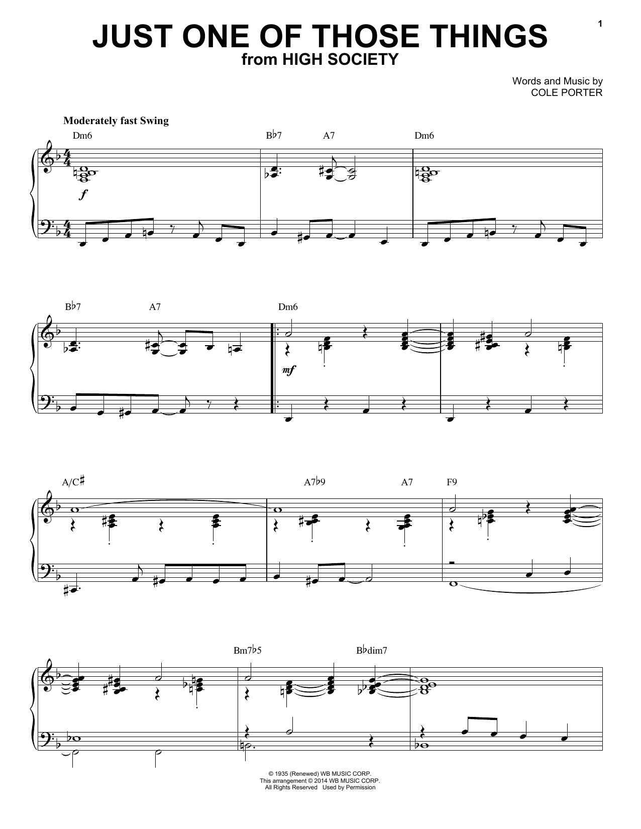 Partition piano Just One Of Those Things de Cole Porter - Piano Solo