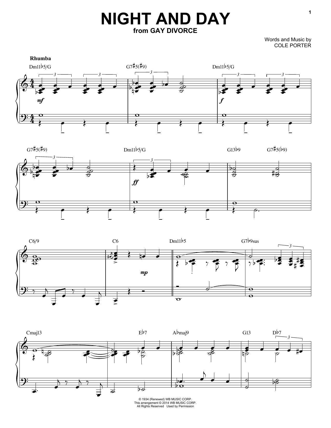 Partition piano Night And Day de Cole Porter - Piano Solo