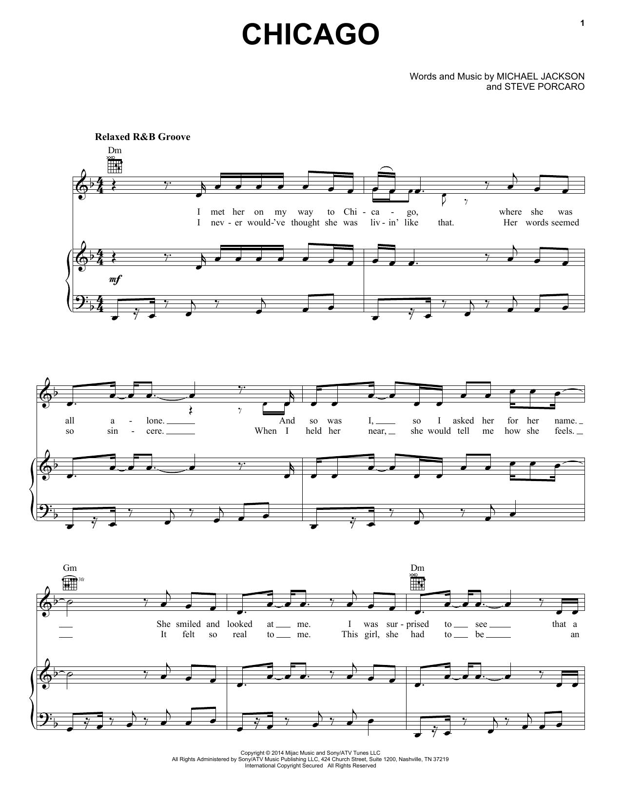 Partition piano Chicago de Michael Jackson - Piano Voix Guitare (Mélodie Main Droite)