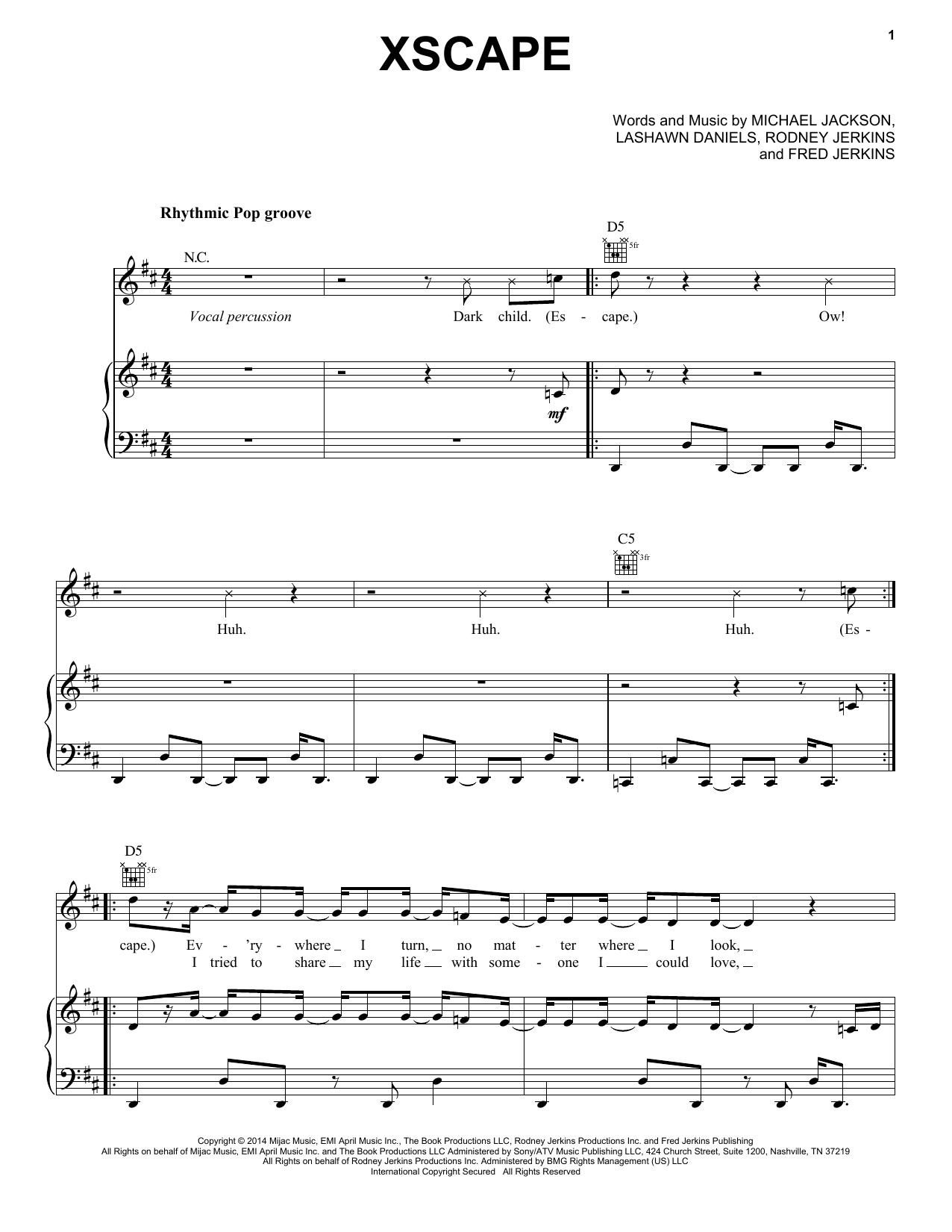 Partition piano Xscape de Michael Jackson - Piano Voix Guitare (Mélodie Main Droite)