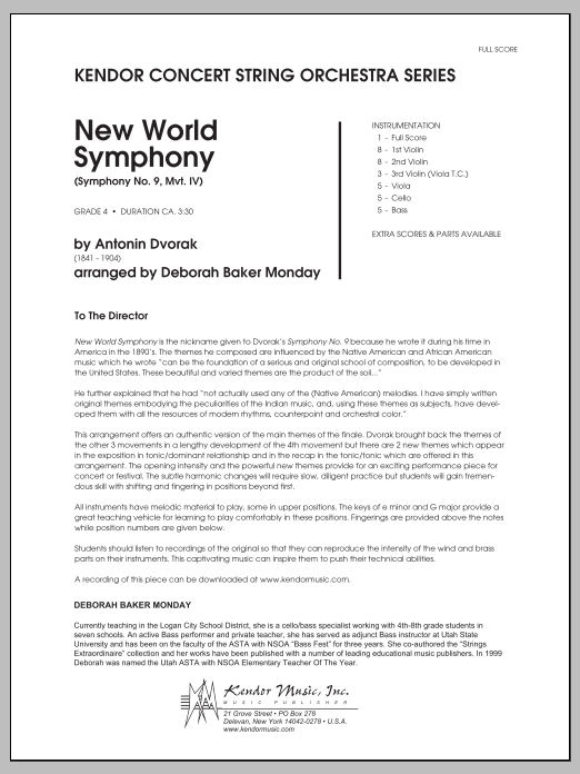 New World Symphony (Symphony No. 9, Mvt. IV) (COMPLETE) sheet music for orchestra by Deborah Baker Monday