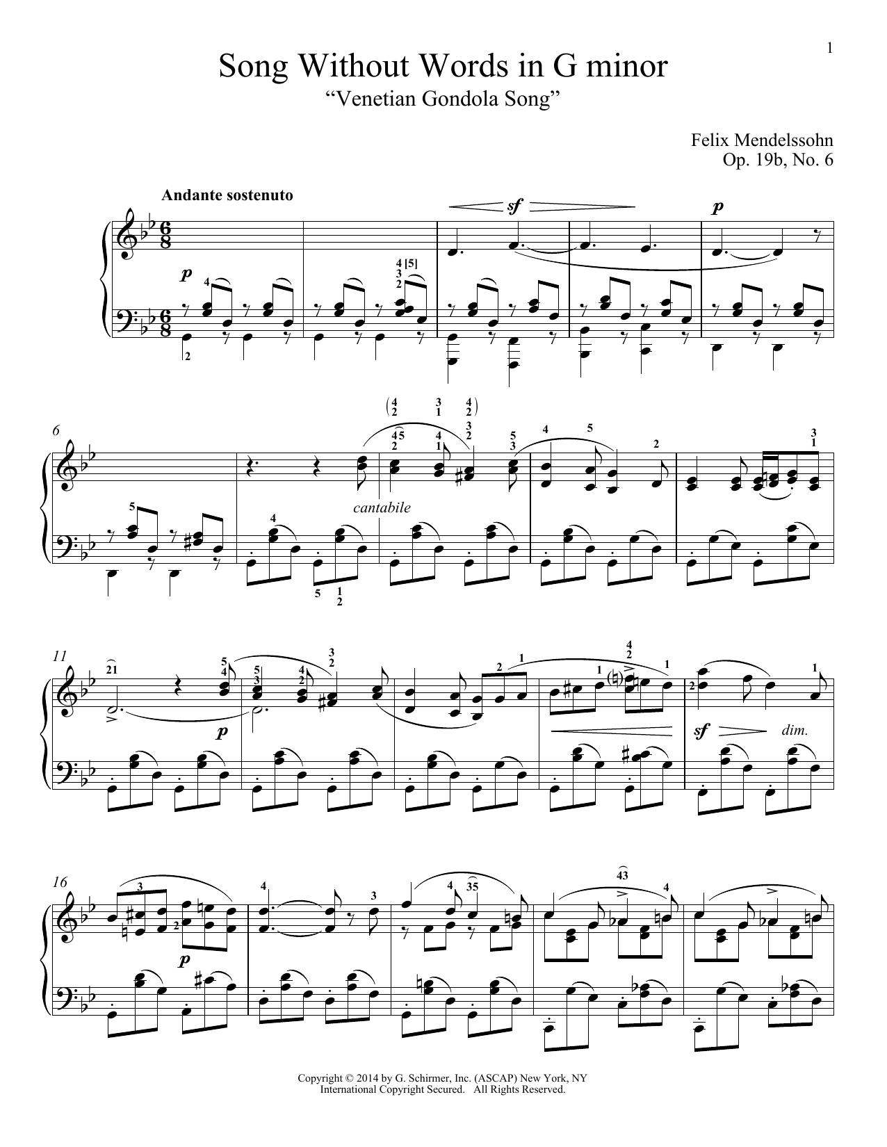 "Partition piano Song Without Words In G Minor ""Venetian Gondola Song,"" Op. 19, No. 6 de Felix Mendelssohn - Piano Solo"