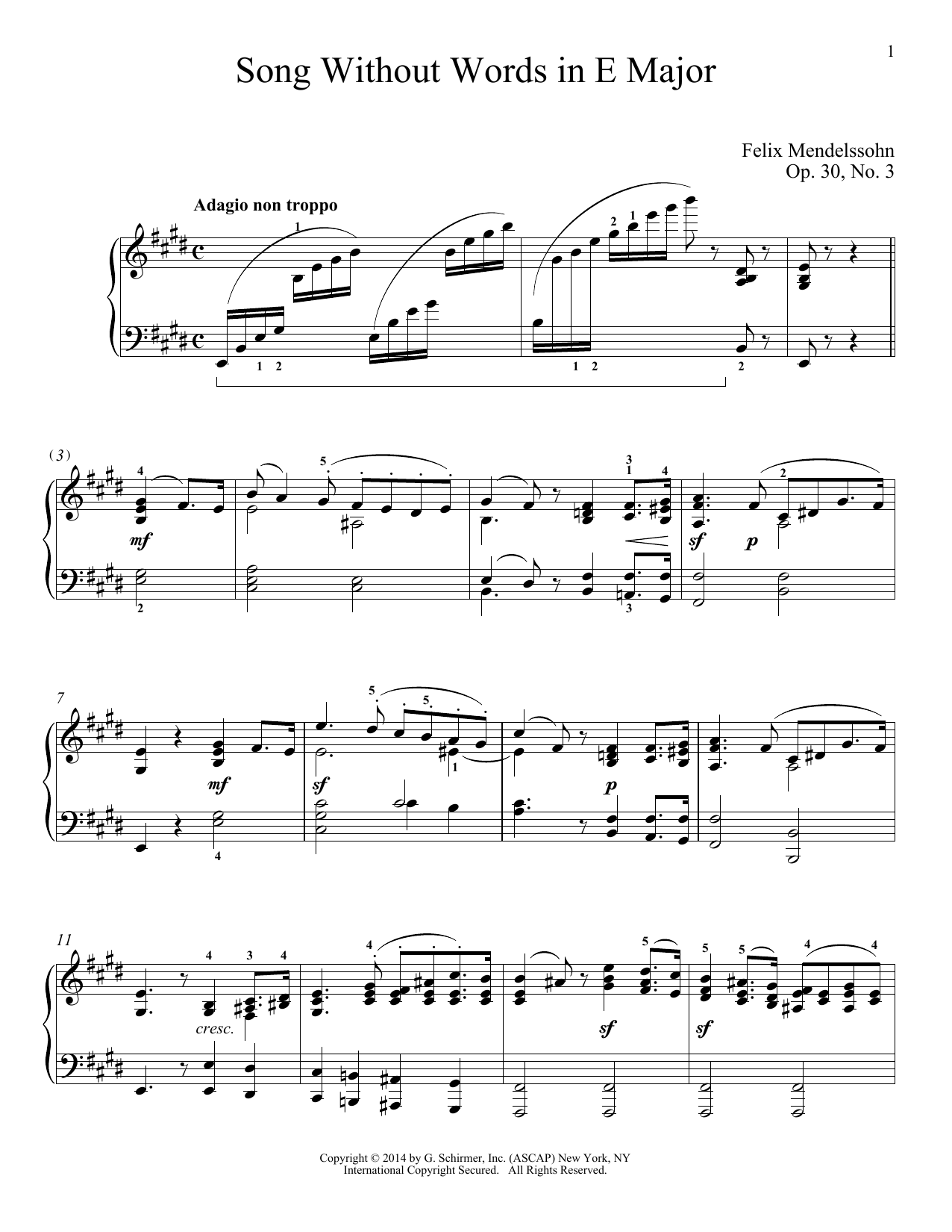 Partition piano Song Without Words In E Major, Op. 30, No. 3 de Felix Mendelssohn - Piano Solo