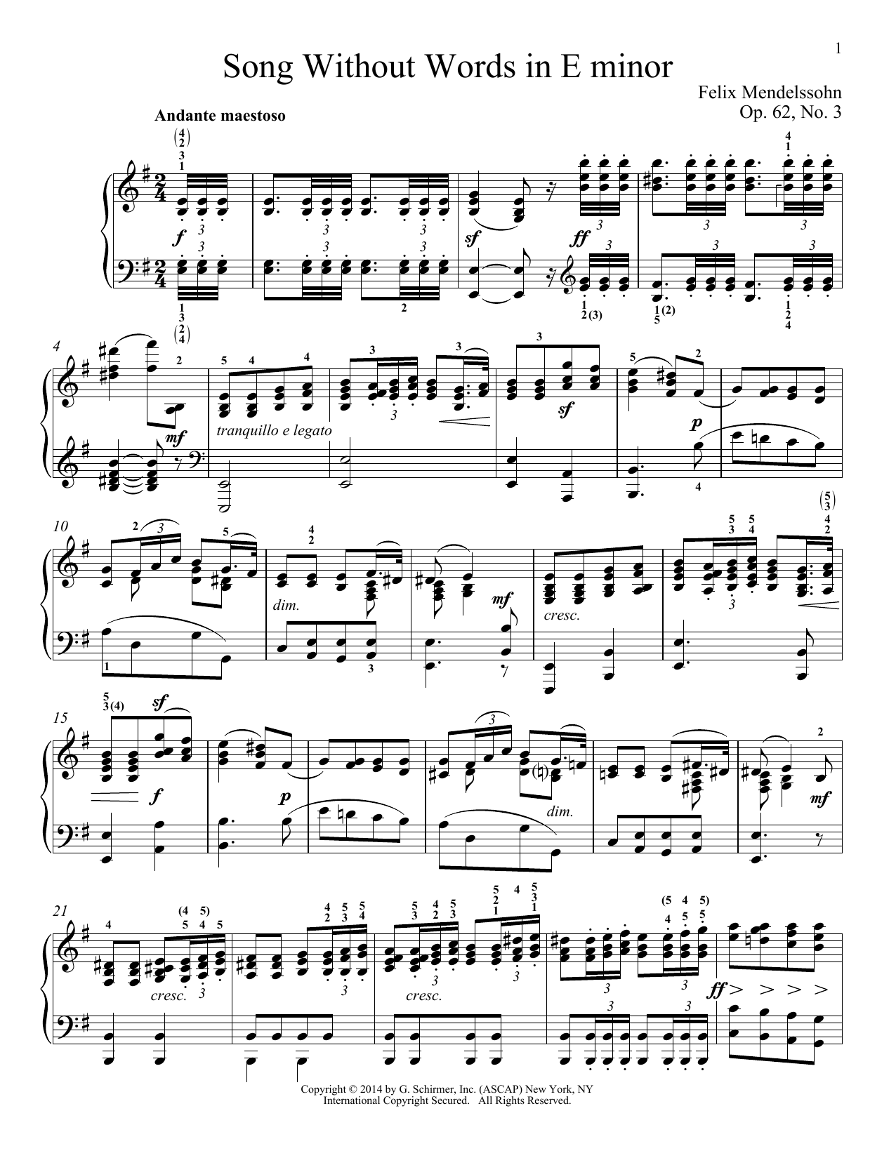Partition piano Song Without Words In E Minor, Op. 52, No. 3 de Felix Mendelssohn - Piano Solo