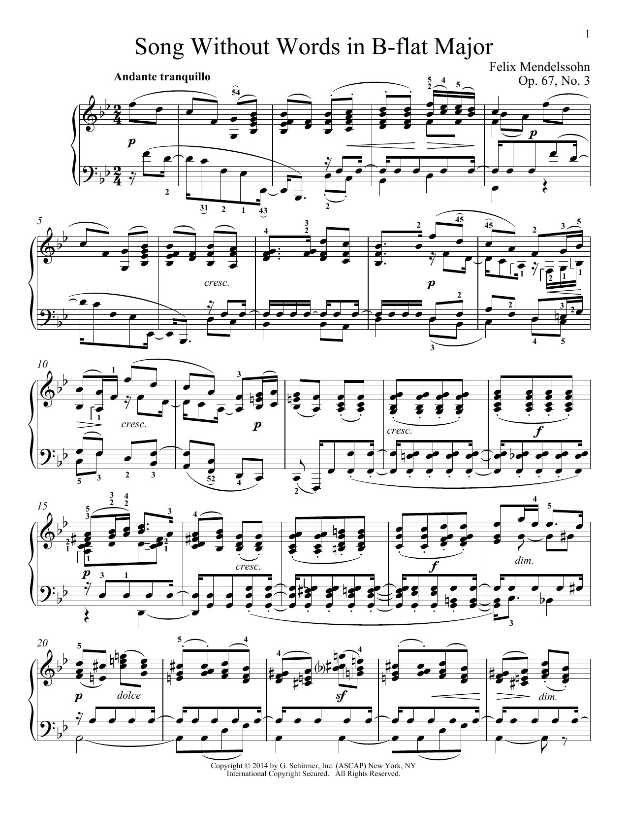 Partition piano Song Without Words In B-Flat Major, Op. 67, No. 3 de Felix Mendelssohn - Piano Solo