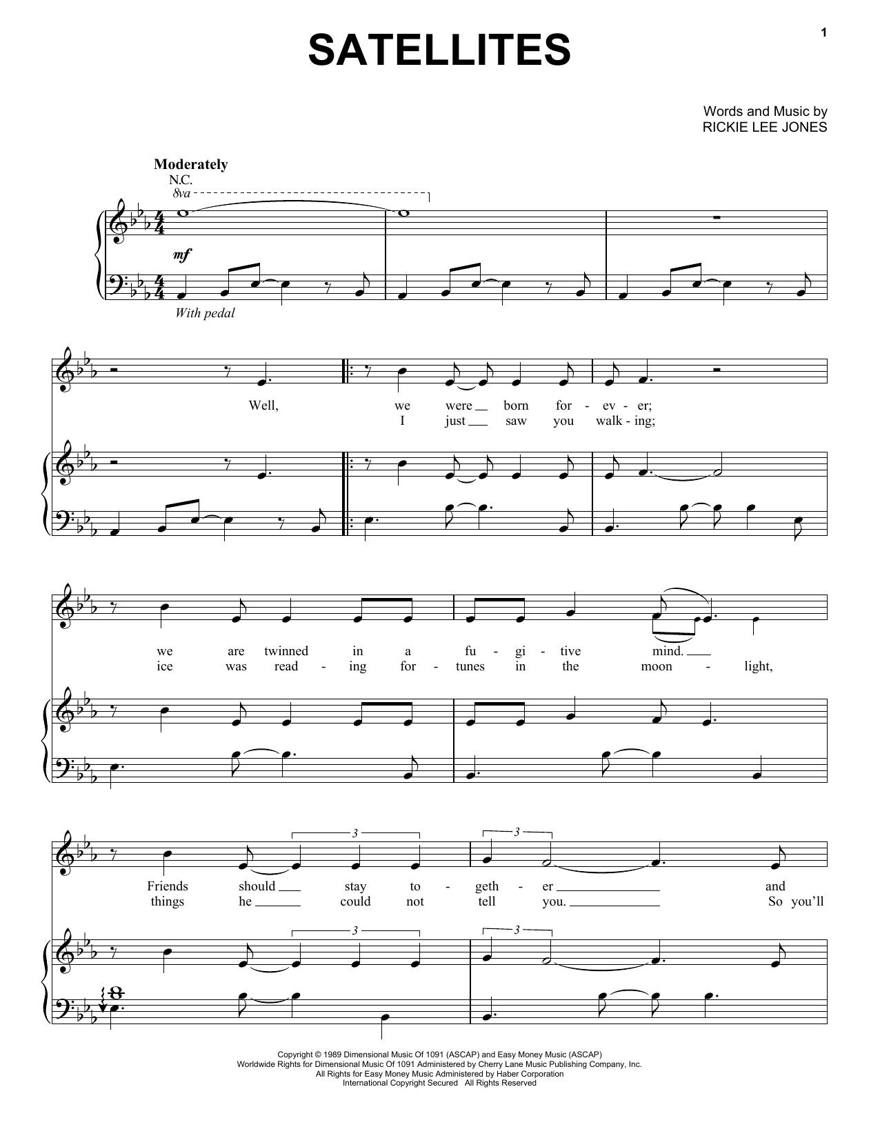 Partition piano Satellites de Rickie Lee Jones - Piano Voix Guitare (Mélodie Main Droite)