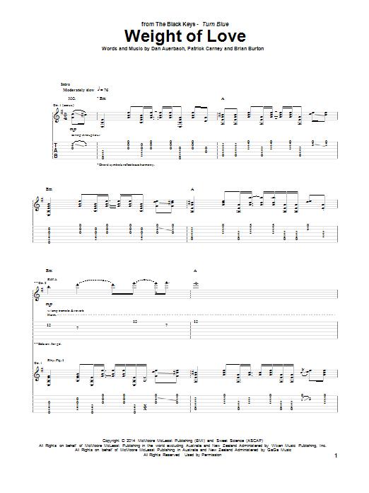 Tablature guitare Weight Of Love de The Black Keys - Tablature Guitare