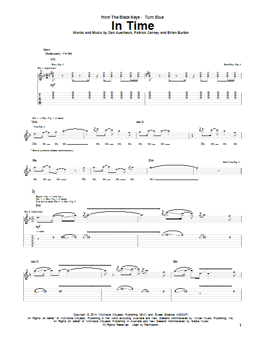 Tablature guitare In Time de The Black Keys - Tablature Guitare