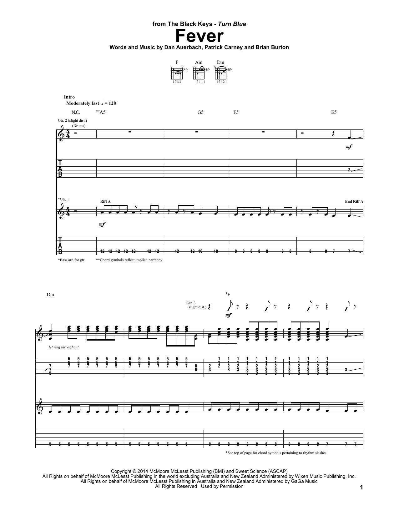 Tablature guitare Fever de The Black Keys - Tablature Guitare