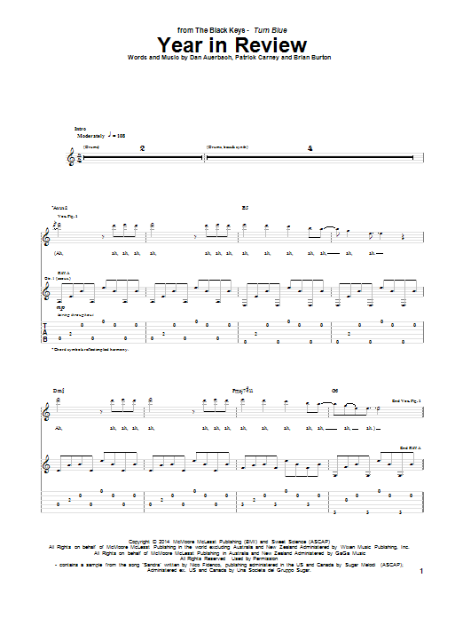 Tablature guitare Year In Review de The Black Keys - Tablature Guitare