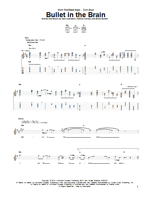 Tablature guitare Bullet In The Brain de The Black Keys - Tablature Guitare
