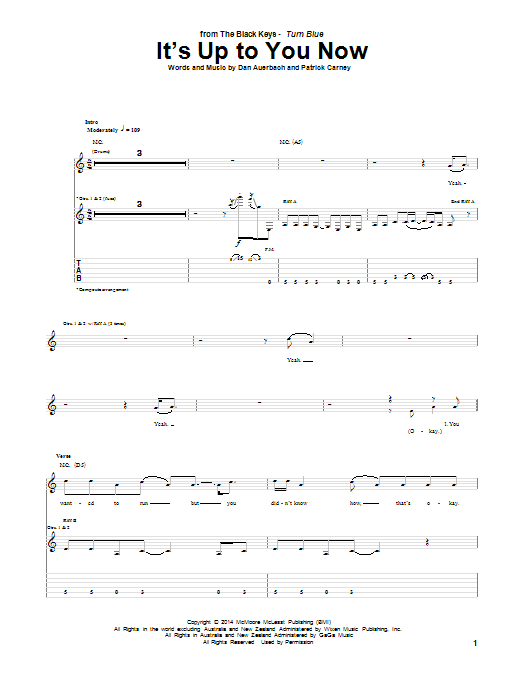 Tablature guitare It's Up To You Now de The Black Keys - Tablature Guitare