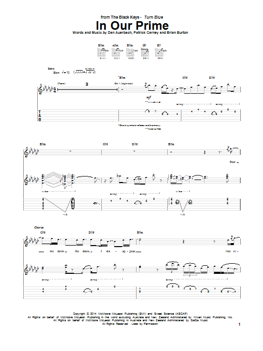 Tablature guitare In Our Prime de The Black Keys - Tablature Guitare