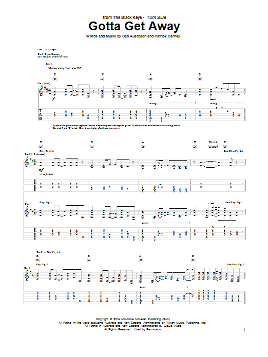 Tablature guitare Gotta Get Away de The Black Keys - Tablature Guitare
