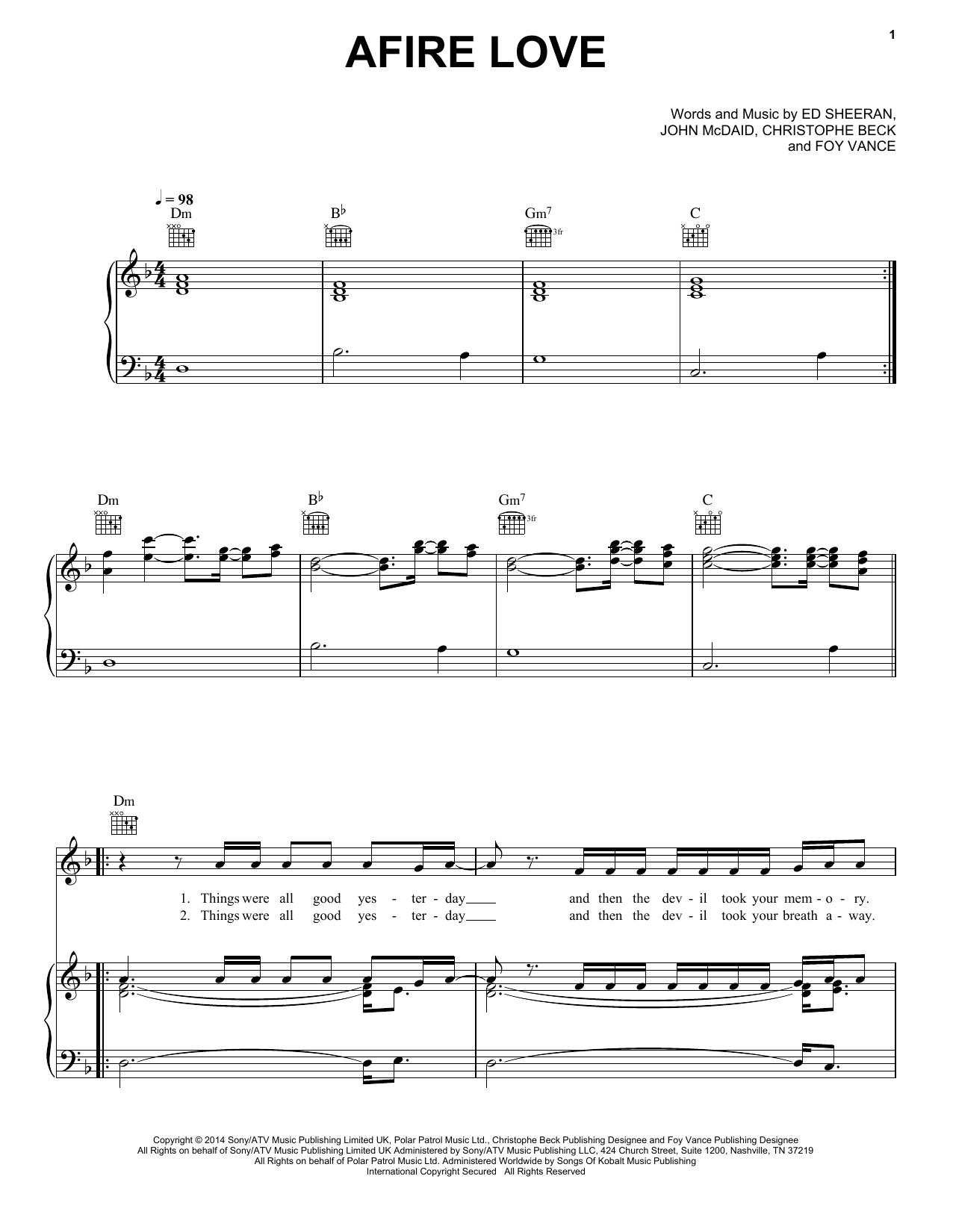 Partition piano Afire Love de Ed Sheeran - Piano Voix Guitare (Mélodie Main Droite)