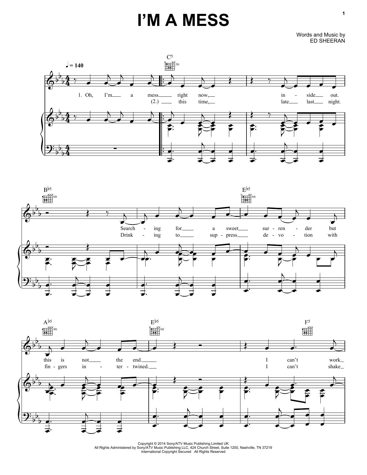 Partition piano I'm A Mess de Ed Sheeran - Piano Voix Guitare (Mélodie Main Droite)