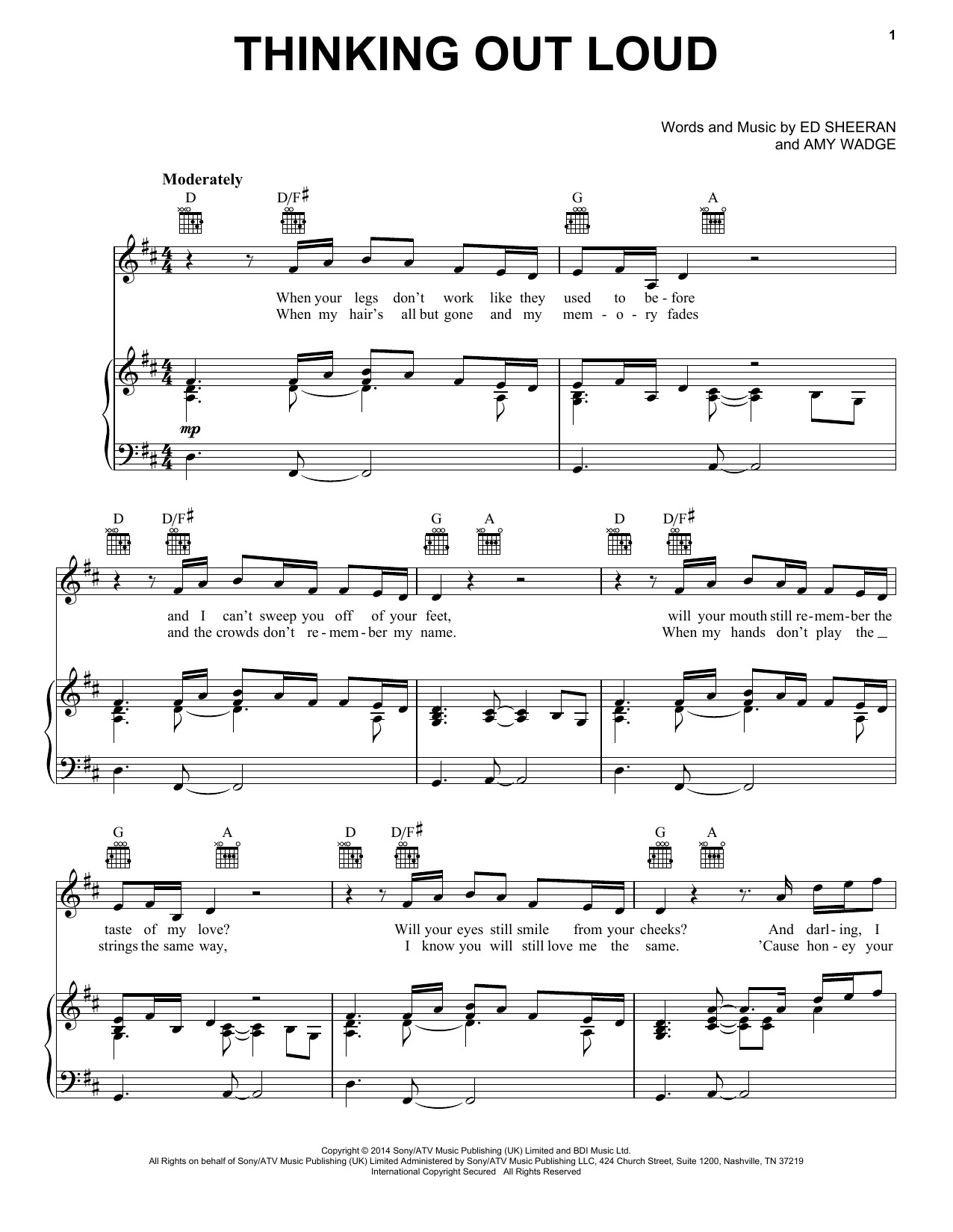 Thinking Out Loud sheet music by Ed Sheeran (Piano, Vocal u0026 Guitar (Right-Hand Melody) u2013 155845)