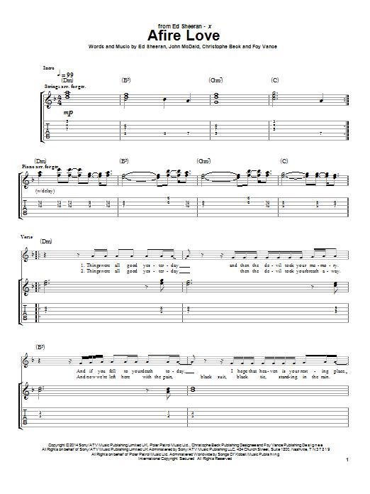 Tablature guitare Afire Love de Ed Sheeran - Tablature Guitare