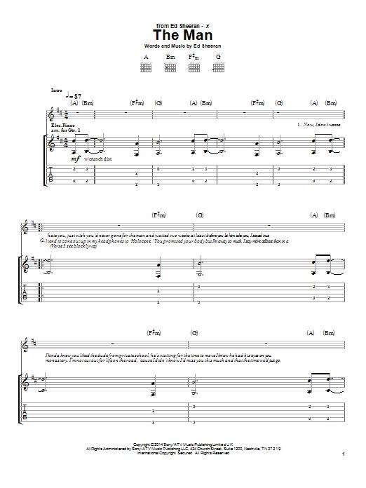 Tablature guitare The Man de Ed Sheeran - Tablature Guitare