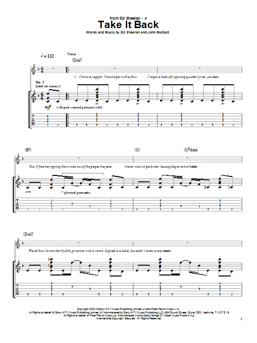 Tablature guitare Take It Back de Ed Sheeran - Tablature Guitare
