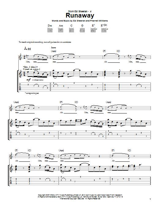 Tablature guitare Runaway de Ed Sheeran - Tablature Guitare