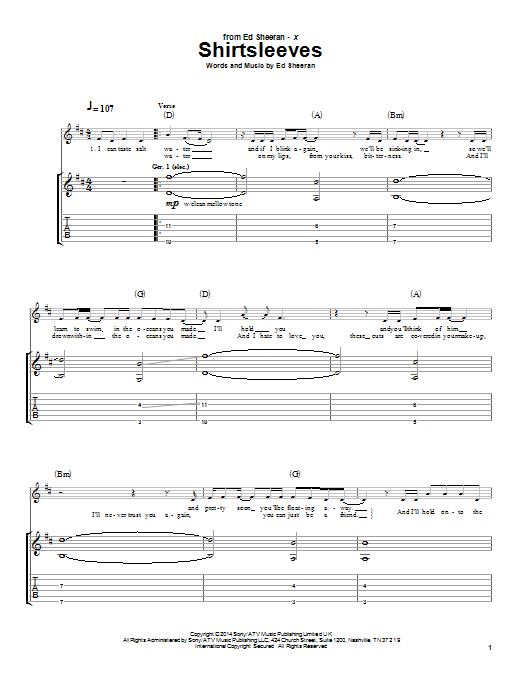 Tablature guitare Shirtsleeves de Ed Sheeran - Tablature Guitare