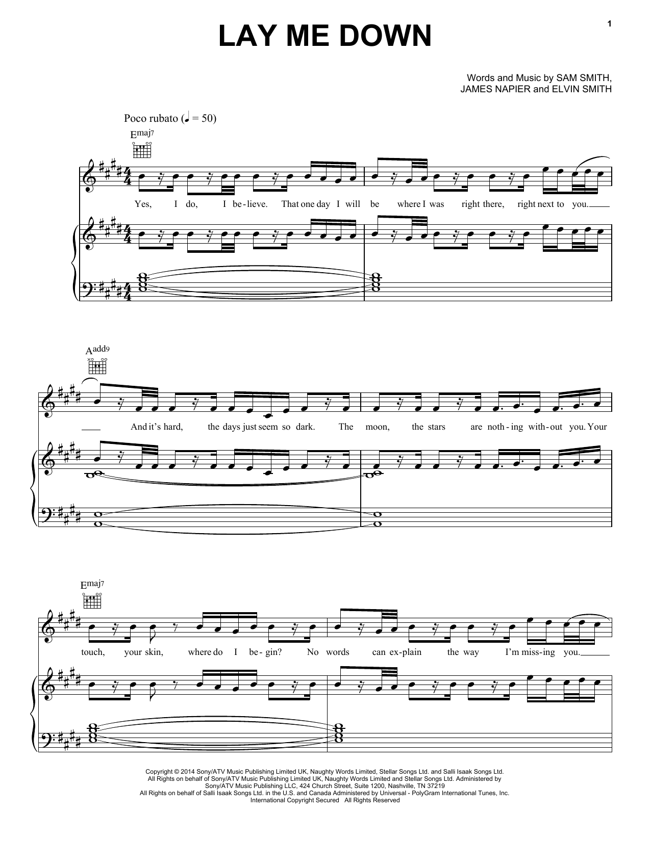 Lay Me Down | Sheet Music Direct