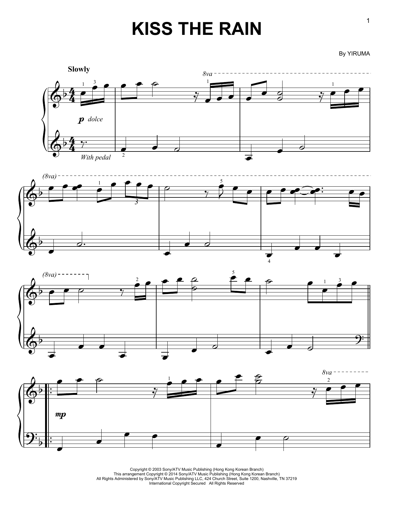 Kiss The Rain piano sheet music by Yiruma - Easy Piano