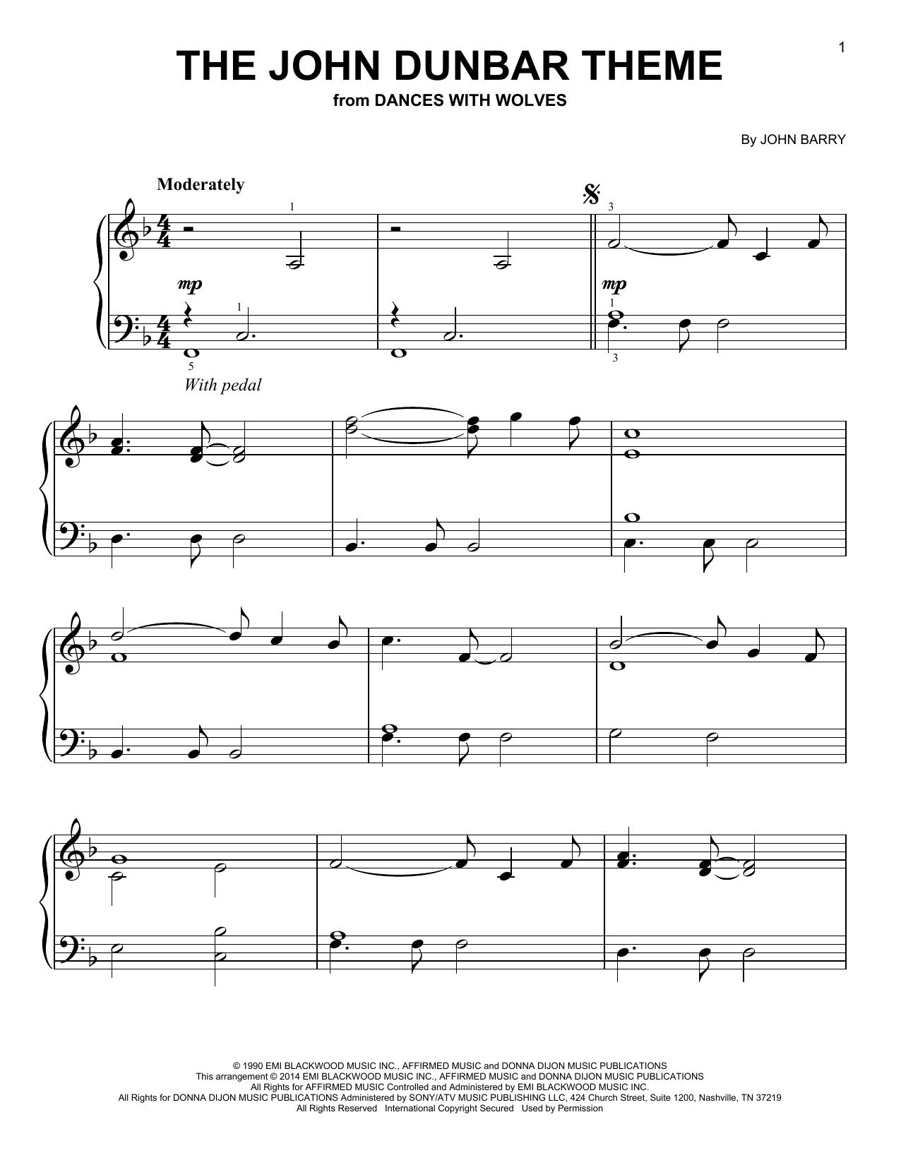 Partition piano The John Dunbar Theme de John Barry - Piano Facile