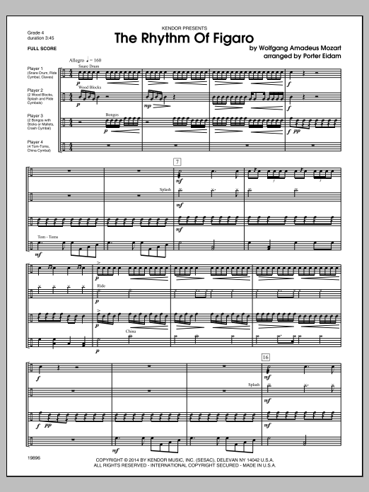 Rhythm Of Figaro, The (COMPLETE) sheet music for percussions by Porter Eidam