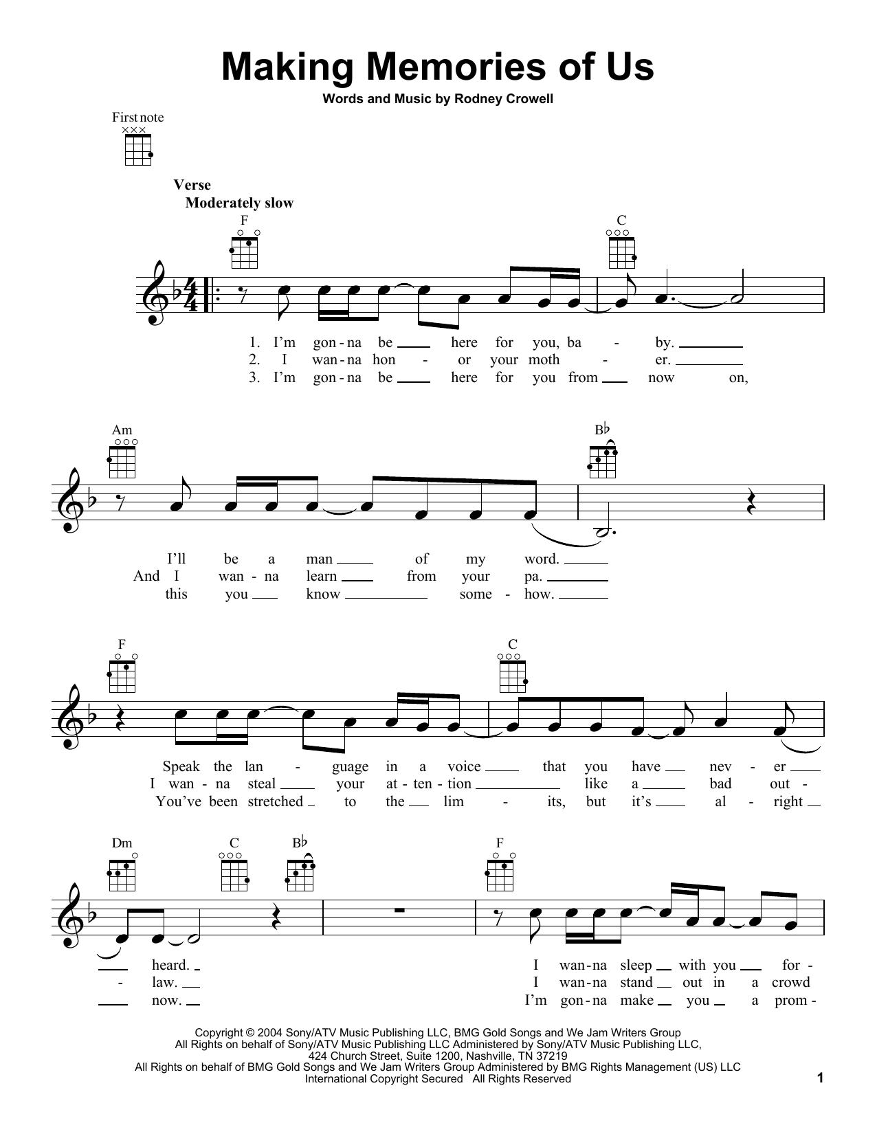 Tablature guitare Making Memories Of Us de Keith Urban - Ukulele