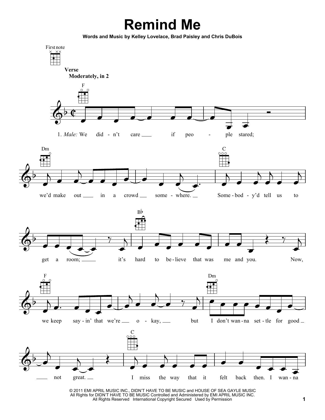 Tablature guitare Remind Me de Brad Paisley & Carrie Underwood - Ukulele