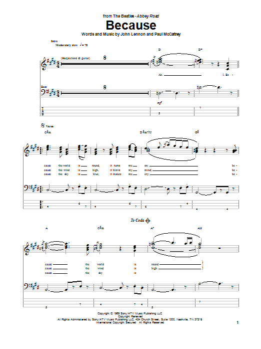 Tablature guitare Because de The Beatles - Tablature Basse