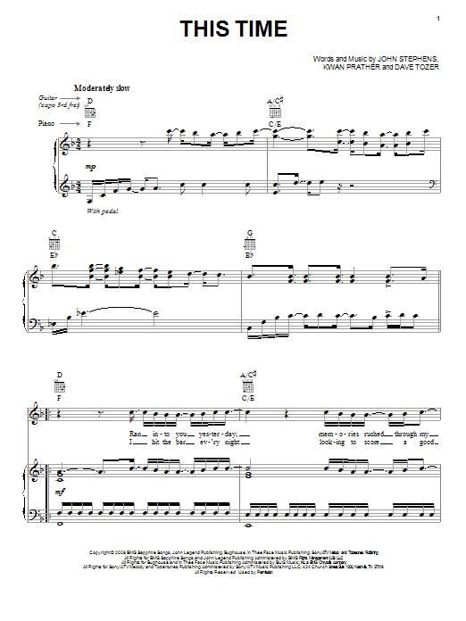Partition piano This Time de John Legend - Piano Voix Guitare (Mélodie Main Droite)