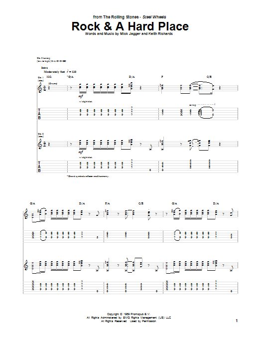 Tablature guitare Rock And A Hard Place de The Rolling Stones - Tablature Guitare