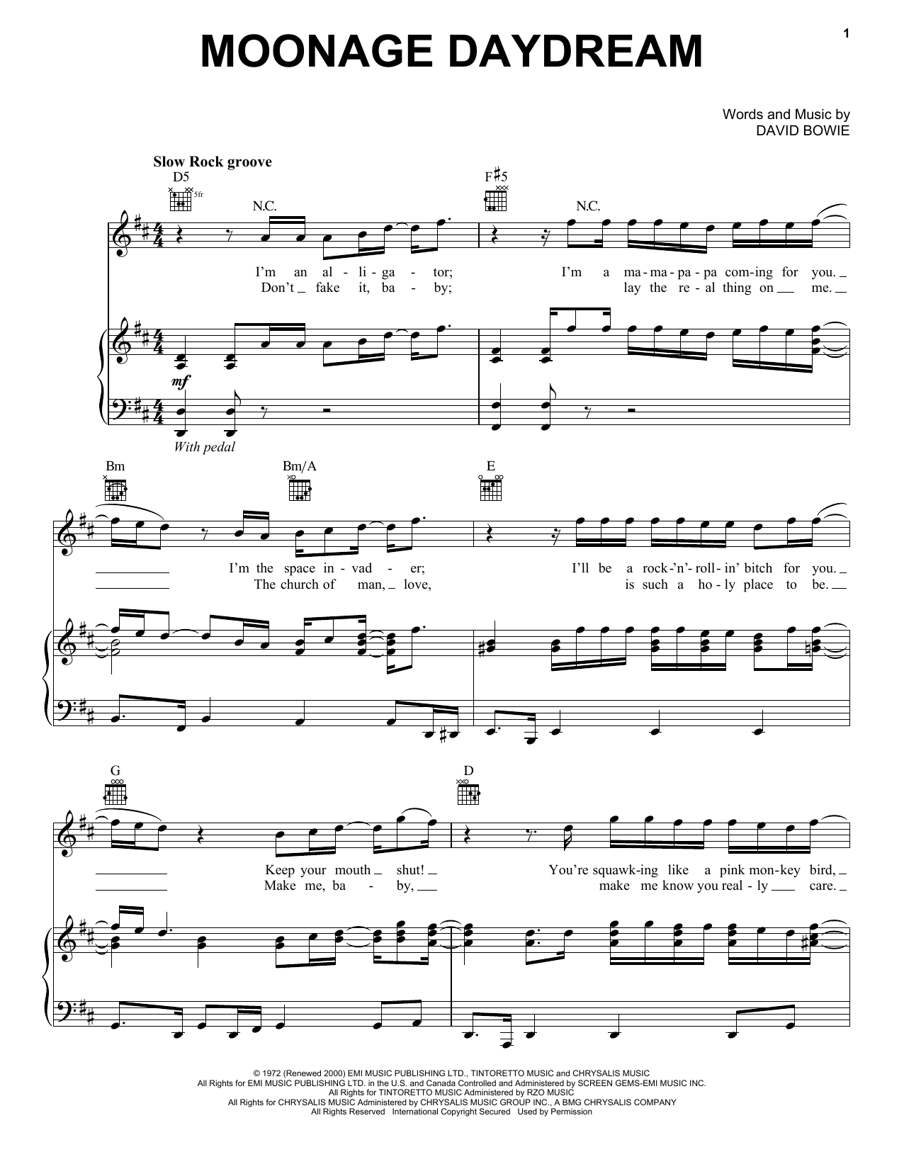 Partition piano Moonage Daydream de David Bowie - Piano Voix Guitare (Mélodie Main Droite)