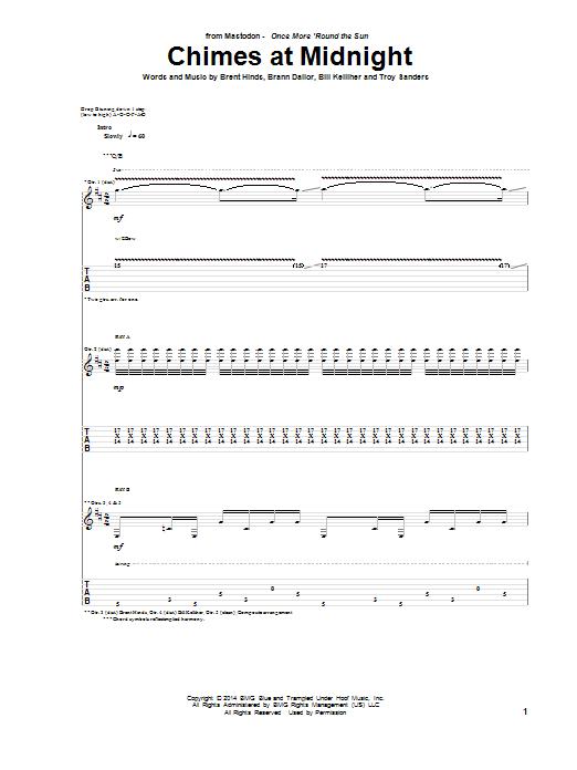 Tablature guitare Chimes At Midnight de Mastodon - Tablature Guitare