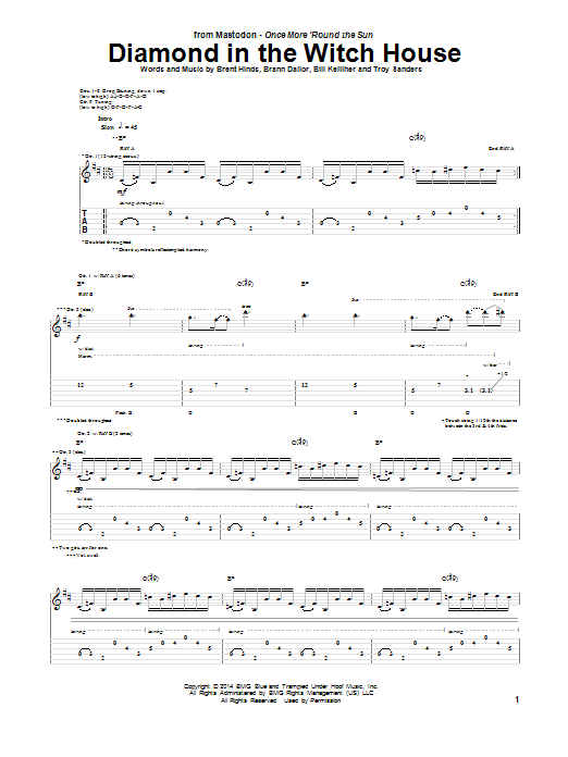 Tablature guitare Diamond In The Witch House de Mastodon - Tablature Guitare