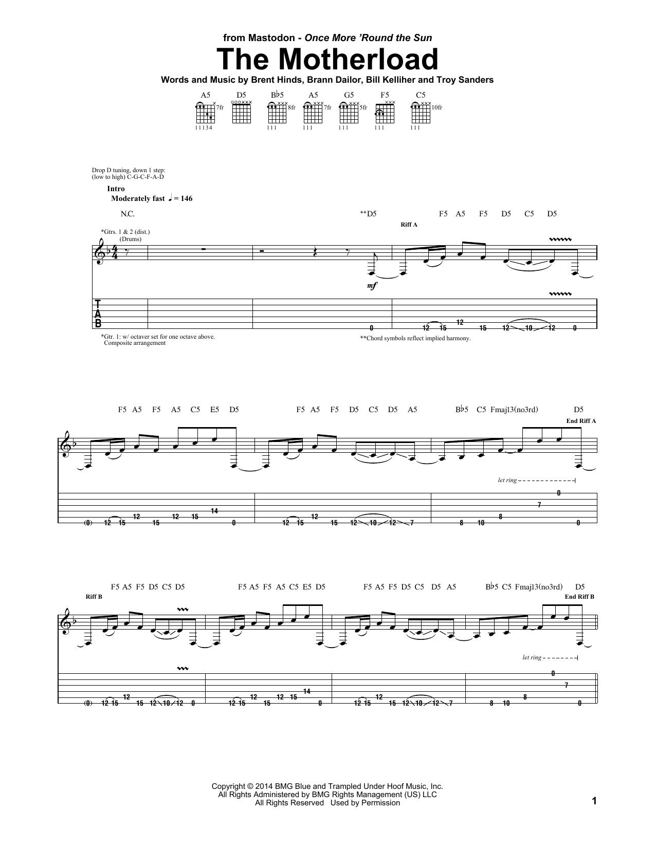 Tablature guitare The Motherload de Mastodon - Tablature Guitare