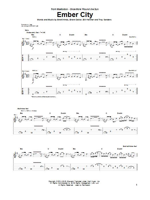 Tablature guitare Ember City de Mastodon - Tablature Guitare
