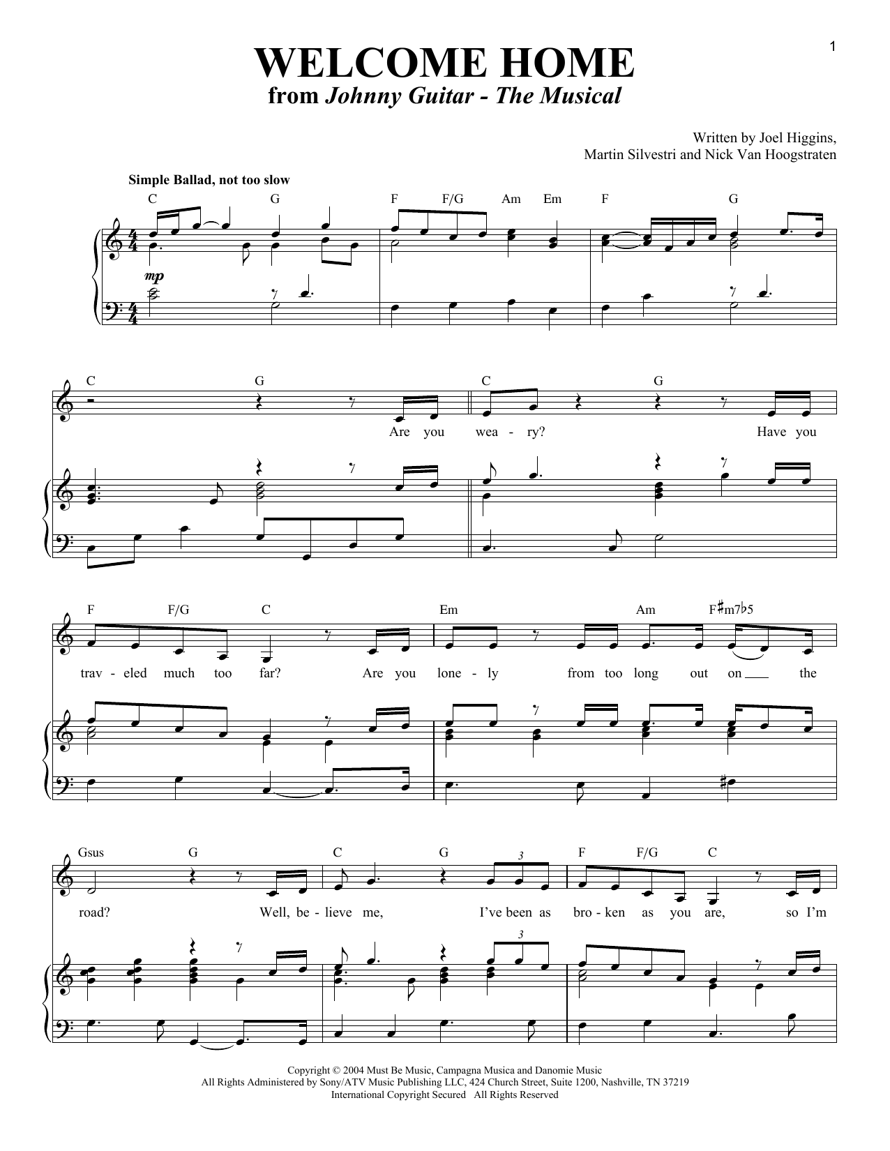 Partition piano Welcome Home (from Johnny Guitar - The Musical) de Nick Van Hoogstraten - Piano Voix