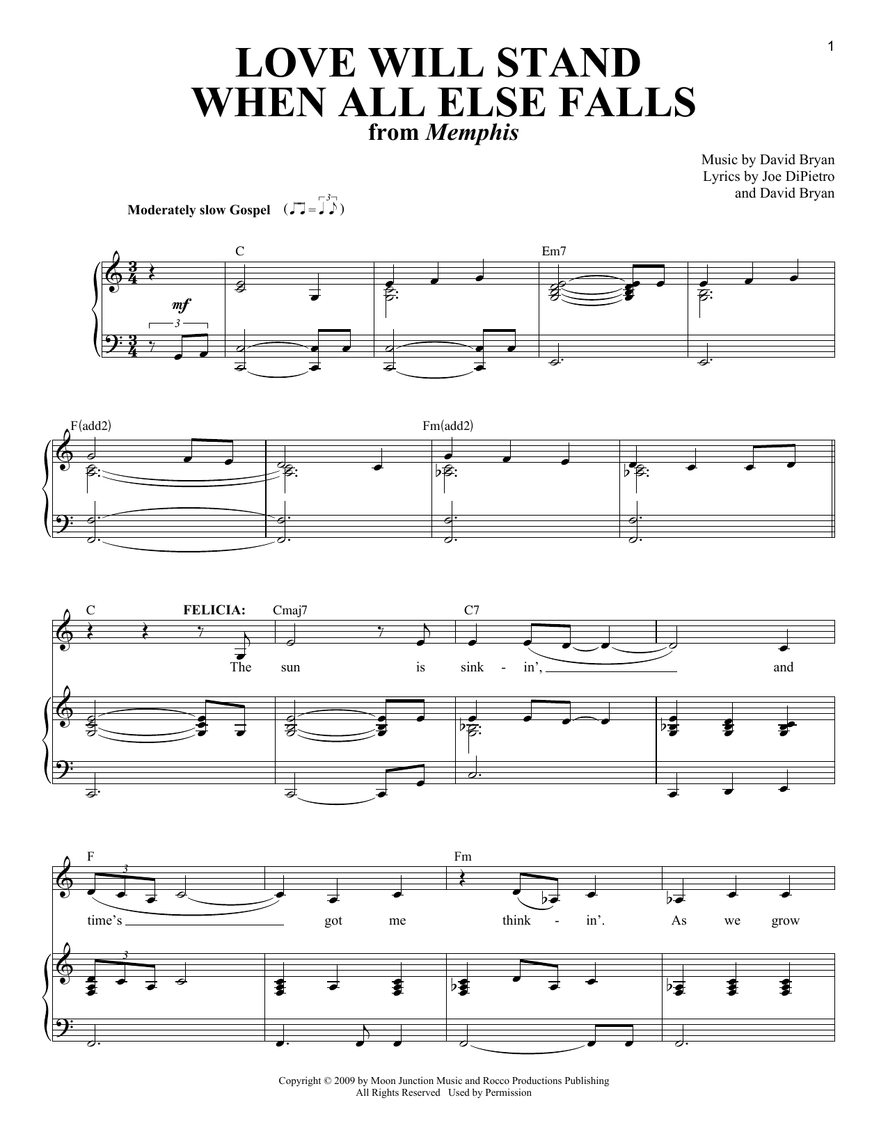 Partition piano Love Will Stand When All Else Falls (from Memphis) de David Bryan - Piano Voix