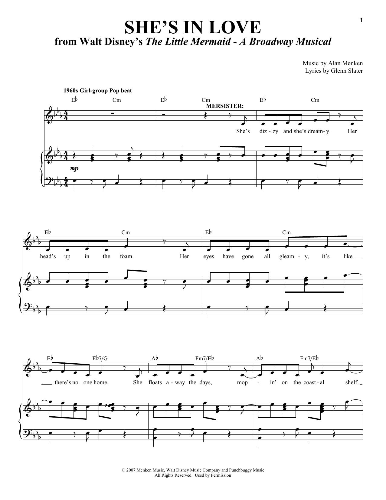Partition piano She's In Love de Alan Menken - Piano Voix