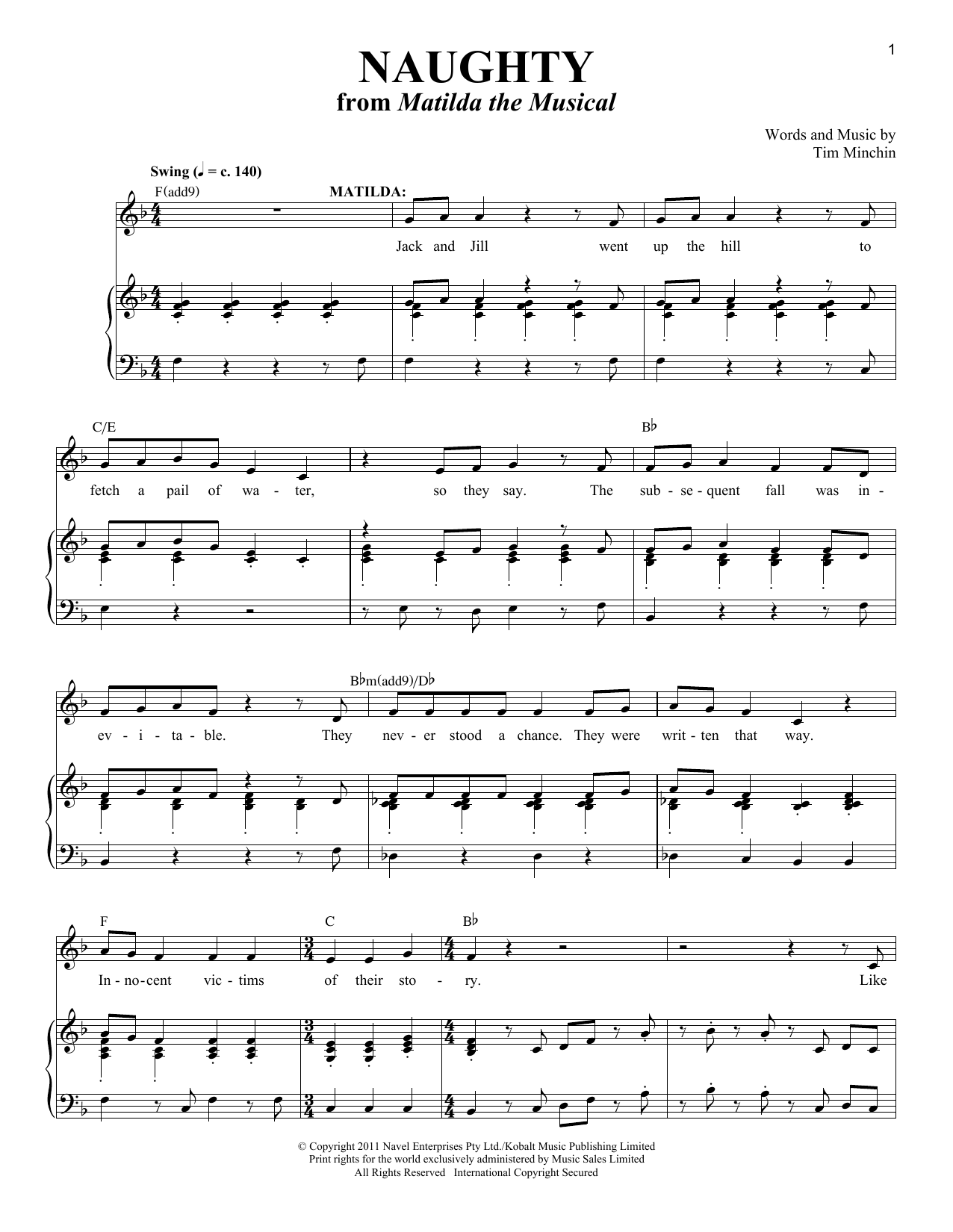 Partition piano Naughty (From 'Matilda The Musical') de Tim Minchin - Piano Voix